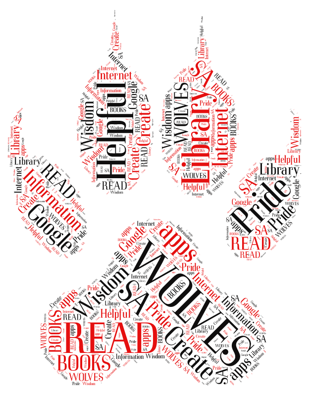 Paw Print Word Cloud - words associated with the library and San Augustine High School
